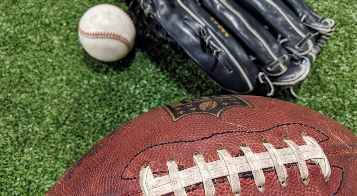 football, baseball glove and baseball